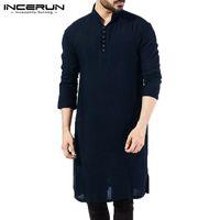 c98d2d0329 Brand Basic Kurta Mens Shirts Long Sleeve Kurta Dress Islamic Clothing  Chemise Elegant Kaftan Robe Pakistani Man Indian Clothes