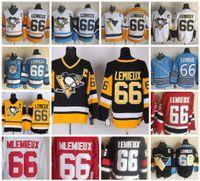lemieux ccm jersey großhandel-Pittsburgh Penguins Vintage CCM # 66 Mario Lemieux Trikot Schwarz Weiß Gold Gelb Eishockey Trikots