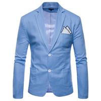 mens ince yazlık takım elbise toptan satış-Erkek Blazers Tek Göğüslü Slim Fit Suits 9 Renkler İlkbahar Yaz Moda Parti Erkek Artı Boyutu M-4XL için Giymek