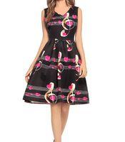 klasik müzik notası toptan satış-Nota Baskı Kadınlar Yaz Elbise Boyun Kolsuz Hepburn 50 s Vintage Elbise Zarif Parti Elbiseler Artı Boyutu S-4XL DK3081MX