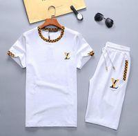 traje deportivo para hombre al por mayor-2019 Mens New Brand Designer Sets camiseta y pantalón de algodón corto chándal traje de verano traje deportivo corto 2 piezas Set M-3XL # F07
