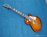 guitarra tigre amarillo al por mayor-Envío gratuito Custom shop Guitarra de una pieza cuello 1959 VOS R9 Cuerpo de caoba Tiger Flame Yellow Binding Body China Guitar