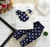 polka dot t-shirt säugling großhandel-Wholesa Baby Mädchen Kleidung Marke Säuglingsbekleidung Polka Dot Langarm T-shirt Tops + Pants 2 STÜCKE Outfits Sportanzug Kinder Bebes Jogginganzüge