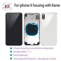 Wholesale iphone frame battery resale online - Replacement battery door back cover chassis for iphone X housing half back door frame with card tray buttons
