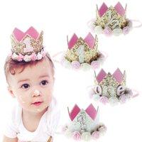chapeau d'anniversaire achat en gros de-Bébé Fille Premier Anniversaire Décor Fleur Party Cap Couronne Bandeau 1 2 3 Année Nombre Priness Style Chapeau D'anniversaire Bébé Cheveux Accessoire