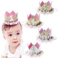 ingrosso cappelli del partito della fascia-Baby Girl Primo Compleanno Decor Fiore Party Cap Crown Fascia 1 2 3 Anno Numero Priness Style Compleanno Cappello Accessorio per capelli