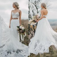 Wholesale two piece wedding dresses resale online - Bohemian Two Pieces Wedding Dresses Plus Size Tulle A Line Backless Sweep Train Spaghetti Strap Boho Beach Wedding Gowns