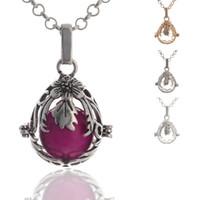 fiesta de la joyería locket al por mayor-Creative Cage Locket Collares pendientes Mujer Apertura Floating Sound Bead Lockets Collar Lady Jewelry Party Gift TTA1468
