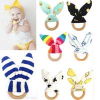 anneau de dentition achat en gros de-Jouet de dentition en bois pour bébé jouet de bébé infantile en bonne santé avec anneau de lapin oreille tissu pratique jouets formation anneau