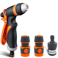 Wholesale hose connecting resale online - High Power Pressure Car and Hose Nozzle Washer Garden Washing Cleaner Water Spray Gun with Quick Connect Adapters Faucet Connect