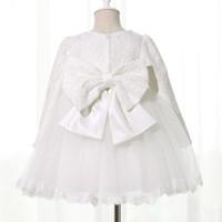 bb8faaf88f698 Robe d hiver pour fille manches longues blanc baptême robes bébé fille 1 an  anniversaire porter Toddler fille dentelle robe de bal de baptême