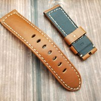 weiche lederarmbänder großhandel-24mm Soft Dark Brown Geuniue Lederarmband für PAM1312 441 0359 Armbanduhr mit 22mm Edelstahl-Dornschließe