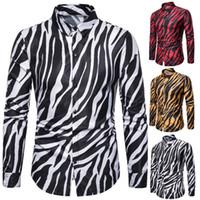 moda de estampado de cebra al por mayor-Nueva manera de los hombres camisa de los hombres del club nocturno de la personalidad del estampado de zebra de manga larga camisa de los hombres del traje de 3 colores el envío libre