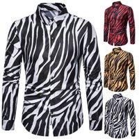 zebra baskılı erkek gömlek erkek toptan satış-Yeni moda erkekler gömlek erkek Gece Kulübü Kişilik Zebra Baskı Uzun Kollu gömlek erkek Kostüm 3 renk ücretsiz kargo