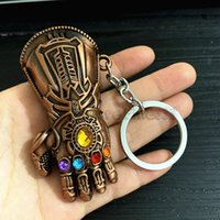 Wholesale iron accessories resale online - Thanos Infinity Gloves models Alloy Metal Model Keychain Iron Man Infinity Gloves Models Key Ring Accessories Whoslesale