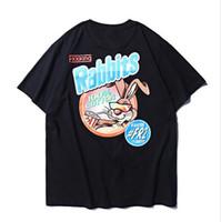 Wholesale animal print t shirts for men online – design 2019ss F k Rabbits Cute Rabbit Printed Women Men FR2 T shirts tees Hiphop Streetwear Men Short Sleeve T shirt For Summer