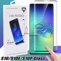 fundas samsung al por mayor-Estuche para vidrio templado para Samsung Galaxy S10 S9 Nota 9 Nota 10 S8 Plus S7 Edge 3d Funda curva Versión Protector de pantalla