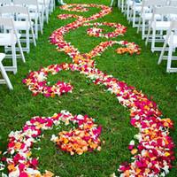 eventos de rosa casamento venda por atacado-500 pçs / lote Eventos De Casamento Decoração de Seda Pétalas de Rosa Flores Artificiais de Noivado de Mesa Fontes Do Partido Flor Falsa