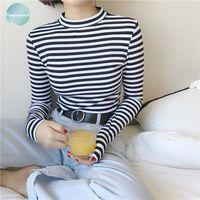 Wholesale cap sleeve square neck resale online - Long Korean T Shirt Style Long Sleeve T Shirts Women New Hot Sale Womens Striped Fashion Harajuku Female Femme Lady