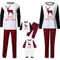 conjuntos de pijamas de navidad familiar al por mayor-Navidad Elk tela escocesa de la ropa de la Navidad para padres - hijo Familia pijamas Madre Padre Hijo Hija niñas ropa de noche LJJO7391