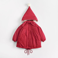 6eaeb4cb3 Niña pequeña ropa de invierno chaqueta de invierno para niños bebé con  capucha de terciopelo rojo manga larga abrigos bebé cálido cremallera  chaqueta ...