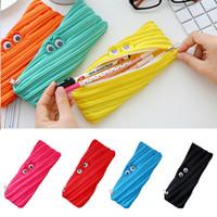 bolsitas para lapices al por mayor-Efectos de escritorio de la bolsa del monstruo Pen lápiz bolsa divertido de la historieta de lápiz del bolso (verde)