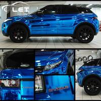 espejo de vinilo azul envoltura al por mayor-estilo del coche alta elástico impermeable UV protegido de la hoja azul del espejo del cromo abrigo del vinilo de la lámina de rollo de película del coche de la etiqueta engomada