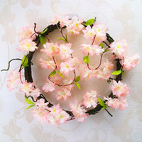 Wholesale cherry artificial decor resale online - 2 pack Artificial Cherry Blossoms Flower Vines Party Supplies Garland Silk Fake Cherry Flower Rattan Wedding Home Decor