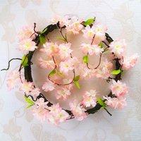 künstliche kirschblüten reben großhandel-2 Teile / paket Künstliche Kirschblüten Blume Reben Partei Liefert Girlande Seide Gefälschte Kirschblume Rattan Hochzeit Wohnkultur
