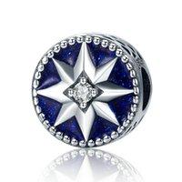 Wholesale diy jewelry sterling star resale online - MYBEBOA Sterling Silver Freeze Snowflake Star Blue Enamel CZ Charm fit Original Pandora Bracelet Necklace DIY Jewelry