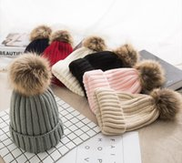 Wholesale spring crochet hats for children resale online - Winter Pompom hat for Kids Ages Knit Beanie winter baby hat for children fur Pom Pom Hats for girls and boys