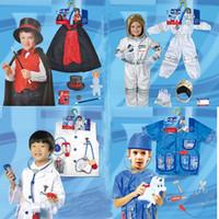 erkek çocuklar için karnaval kıyafetleri toptan satış-Çocuklar Cadılar Bayramı Partisi Hemşire 23 stil Karnaval Çocuk Cosplay Doktor Kostümler Fantezi Kız Erkek Giyim Cerrahi Oyuncak Seti Rol Çal Wear