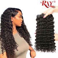 natürliche mongolische reine haare großhandel-RXY Deep Wave Echthaar Bundles Mongolian Curly Hair Bundles 100% reines Echthaar Weben unverarbeitete Deep Curly Bundles
