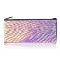комплекты блеска для макияжа оптовых-Make Up Brush Bag Portable Cosmetics Case Laser Fish Scale Glitter Makeup Brush Organizer Bag Makeup Tool Kits