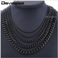 colliers lucite achat en gros de-Chaînes en acier inoxydable Collier pour les hommes Black Silver Gold Mens Colliers Curb Cubain Davieslee Bijoux Cadeaux 3/5/7/9 / 11mm DLKNM09