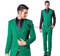 tres un pantalón al por mayor-Trajes de tres piezas de los hombres con muesca solapa un botón de fin de curso formal del juego Trajes de negocios Coat + Pant boda esmoquin traje de Mariage