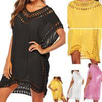 sarı pembe bikini toptan satış-Siyah Tunik Plaj Elbise Kapak Up Kadınlar Mayo Coverup Yaz Mayo Beyaz Sarı Pembe Elbiseler Bikini Yüzmek Pareo Kapak-up Y19071801