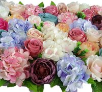 eventos de rosa casamento venda por atacado-Flores artificiais de Parede Para O Casamento Da Flor Pano de Fundo de Seda Rosa Peônia Flores de Flores de Parede de Hortênsia Leading Flores Fontes Do Partido Do Evento