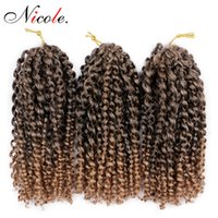 Wholesale ombre kinky braiding hair resale online - Nico Hair Crochet Braiding Kanekalon Synthetic Bulk Hair Extensions inch Ombre Mali Bob Bohemian Twist Kinky Curly Malibob Crochet Braids