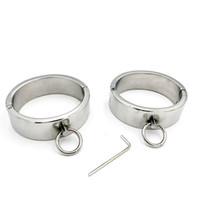 Latest 3CM Height Stainless Steel Oval Fetter Anklet Metal Restraint Shackles Ankle Cuffs Bondage Adult BDSM Sex Toy For Male Female