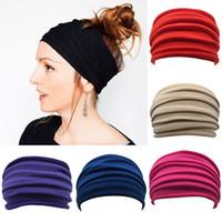 banda de pelo de yoga caliente al por mayor-Amplia calientes de las mujeres hombres de la yoga se divierte la venda del pelo de la venda elástica Boho abrigo de la cabeza Muñequera Accesorios