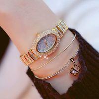 ingrosso guarda il diamante personalizzato-BS New Oval Shape Watch Custom Full Diamond oro argento orologio da donna orologio da polso femminile FA0971