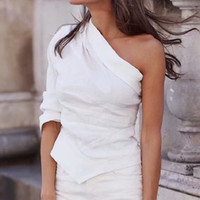 senhoras camisa de linho branco venda por atacado-Moda Feminina Branco Um Ombro Camisas para Senhoras Primavera-Verão Blusa De Linho De Algodão Chique Meninas Casual Street-wear Tops femme
