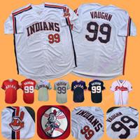 new movies toptan satış-Ricky Vaughn Jersey Tüm Dikişli Yeni Hintliler Beyzbol Cleveland Film Major League Charlie Sheen Vahşi Şey Ev Uzakta Beyaz Kırmızı