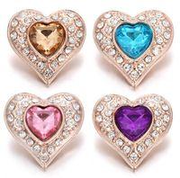 pulseira de ouro rosa venda por atacado-10 Pcs 2019 New Rose Botão Snap de Ouro Jóias Rhinestone Cristal Amor Coração Botão Snap para 18 MM Snap Pulseira Amor Jóias