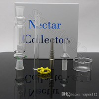 Wholesale titanium domeless water bong resale online - Nector collector gift pack mm mm mm nector collector kit with Gr2 titanium nail domeless quartz nails water oil rigs glass bong Free S