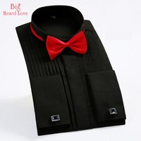 Wholesale red dress shirt bow tie resale online - Men Tuxedo Shirts Bow Tie And French Cuffs Slim Fit Cotton Long Sleeve Men Dress Shirts Big Size Spring Formal NNX