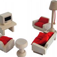 Wholesale living room sets furniture for sale - Group buy Mini Simulation Furniture Toys Wooden Pretend Play Decoration Sets Bed Sofa Desk Living Room Lovely hc F1