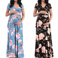 heiße kleider schwangere frauen großhandel-Hot summmer stretch mutterschaft kleider mode schwangerschaft kleidung v-ausschnitt floral bedruckte schwangere maxi kleider