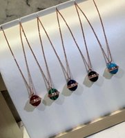 roségold überzogene kugelkette großhandel-Klassische Besitz Designer Rose Gold überzogene bunte keramische runde Kugel-hängende Halskette für Frauen-Schmucksachen